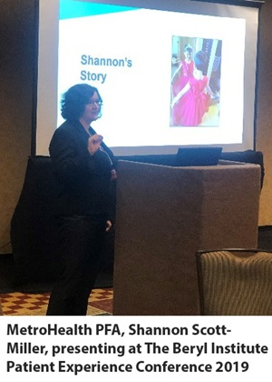 MetroHealth PFA, Shannon Scott-Miller, presenting at The Beryl Institute Patient Experience Conference 2019