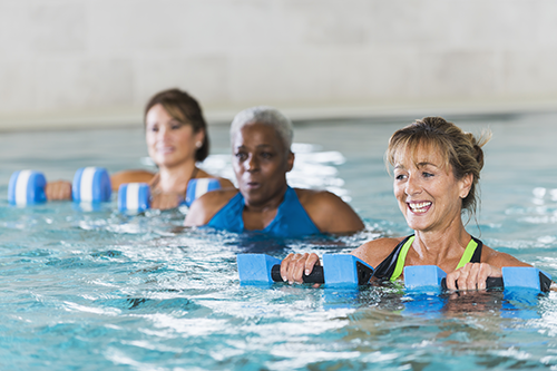 Women Swimming In Exercise Class For Pain Relief